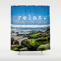 relax Shower Curtains featuring Relax by Michelle McConnell