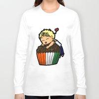 niall Long Sleeve T-shirts featuring Cupcake Niall by Barbara