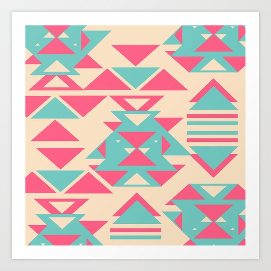 Modern Pink Turquoise Abstract Geometric Triangles Art Print