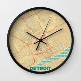 Detroit Map Retro Wall Clock