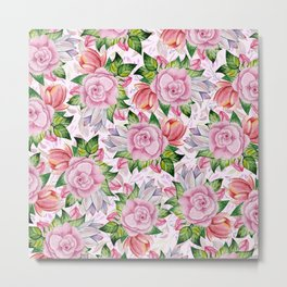Watercolor pink lavender colorful hand painted roses flowers Metal Print