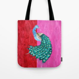 Pink Peacock Tote Bag