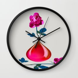DECORATIVE FUCHSIA PEONY IN TEARDROP VASE Wall Clock