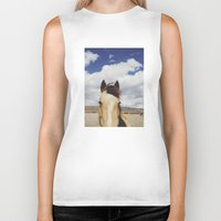 horse Biker Tanks featuring Cloudy Horse Head by Kevin Russ