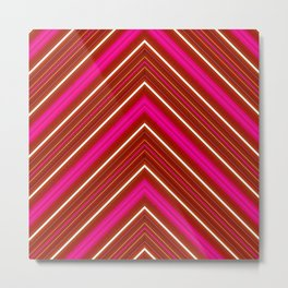 Modern Diagonal Chevron Stripes in Shades of Red and Pink Metal Print