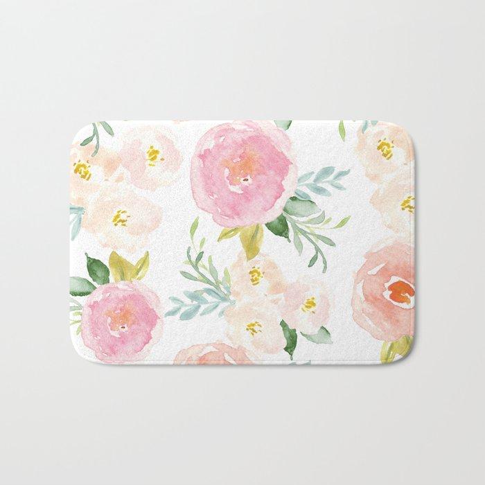 Sweet Pink Blooms (Floral 02) Bath Mat