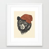 hat Framed Art Prints featuring zissou the bear by Laura Graves