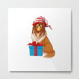 Christmas theme with dog and present box shirt Metal Print