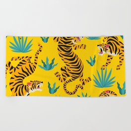 Yellow Tiger Tropical Pattern Beach Towel