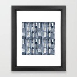 Simply Shibori Lines in Indigo Blue on Lunar Gray Framed Art Print