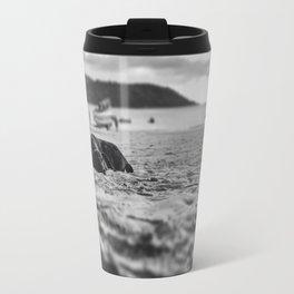 Dog in the sand Travel Mug