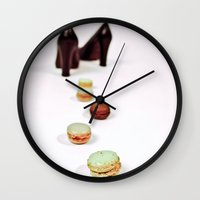marie antoinette Wall Clocks featuring Marie Antoinette by Delphine Comte