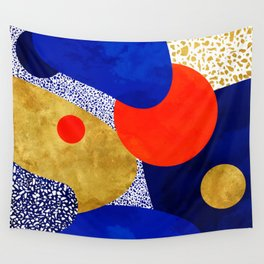 Terrazzo galaxy blue night yellow gold orange Wall Tapestry