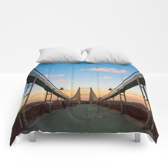 Pedestrian bridge in Kiev Comforters