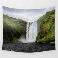 iceland Wall Tapestries featuring Skogafoss Waterfall Iceland by Ramsvision