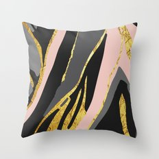 Gold and pale river Throw Pillow