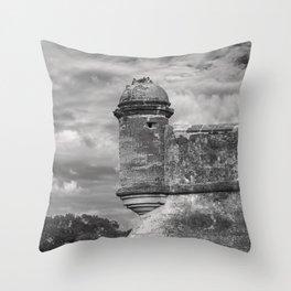 Castillo de San Marcos - black and white Throw Pillow