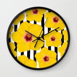 Summer Hibiscus Fun on Black & White Stripes Wall Clock