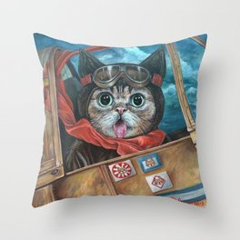 Lil Bub Takes Flight, cute cat art, oil painting portrait, flying plane in sky, kitty, kitten Throw Pillow