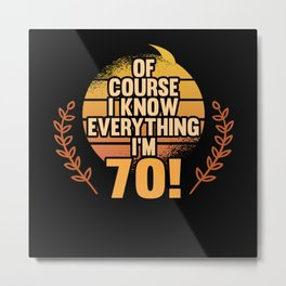 70 Years Birthday Party Gift Metal Print