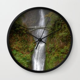 Multnomah Falls in Autumn Wall Clock