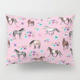 Horses & Flowers, Pink Pattern, Horse Illustration, Little Girls Room, Watercolor Pillow Sham
