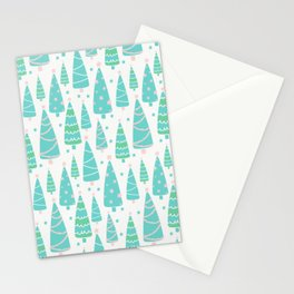 Pastel Christmas Tree Forest Stationery Cards