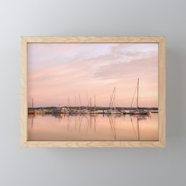 Pink sundown at the sea Framed Mini Art Print