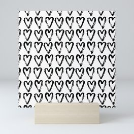 Black & White-Love Heart Pattern - Mix & Match with Simplicty of life Mini Art Print