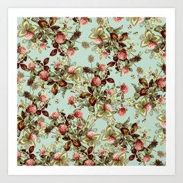 Vintage shabby green pink coral floral pattern Art Print
