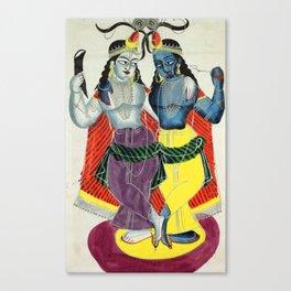 Balarama and Krishna - Vintage Indian Art Print Canvas Print