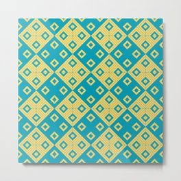 Diagonal squares in teal and yellow colours Metal Print