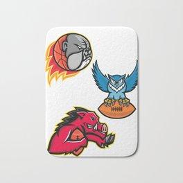 American Football and Basketball Wildlife Sports Mascot Collection Bath Mat