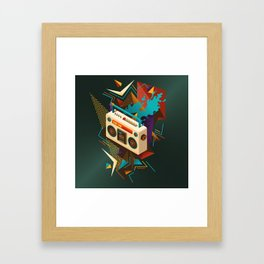 Bust Out The Jams Retro 80s Boombox Splash Framed Art Print