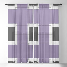 White Hairline Squares in Purple Sheer Curtain