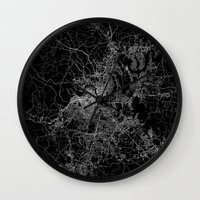 nashville Wall Clocks featuring nashville map by Line Line Lines