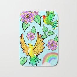 Birds Flowers and Rainbows Doodle Pattern Bath Mat