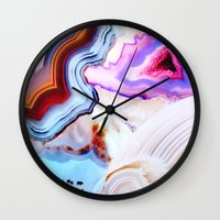 agate Wall Clocks featuring Agate, a vivid Metamorphic rock on Fire by Elena Kulikova