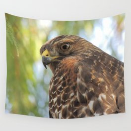Young Red-Shouldered Hawk in a Desert Willow Wall Tapestry