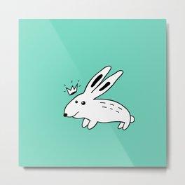 Rabbit with Crown Metal Print