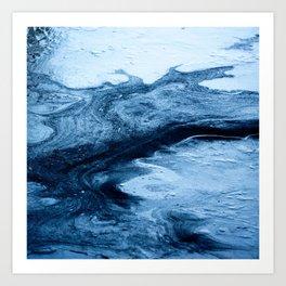 trendy nautical beach coastal white navy blue marble swirls watercolor Art Print