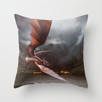 smaug Throw Pillows featuring Smaug Burns Lake-Town by Andy Fairhurst Art