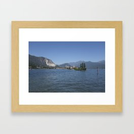 Panoramic view of Fishermen Island on Lake Maggiore, Italy Framed Art Print