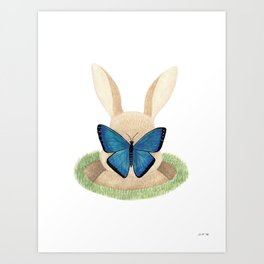 Butterfly resting on a bunny's nose Art Print
