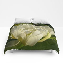 Double White Tulip by Teresa Thompson Comforters