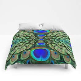 Green-Blue Peacock Feathers Art Patterns Comforters