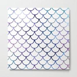 Abstract Black & Purple Fish Scales Metal Print