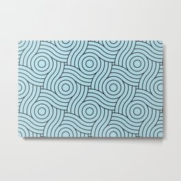 Circle Swirl Pattern Blue Inspired By Healing Aire Blue - Angelic Blue - Soothing Blue Metal Print