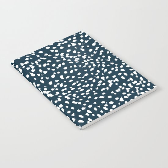 Navy Dots abstract minimal print design pattern brushstrokes painterly painting love boho urban chic Notebook