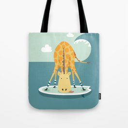 Surfing Giraffe Tote Bag